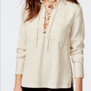 Free People Cream Lace Up Top (M)